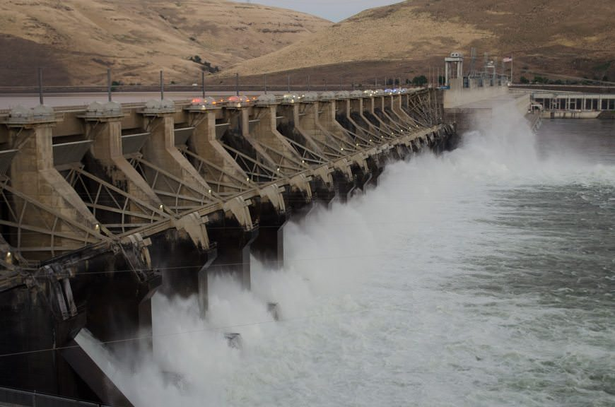 Transiting The Dalles Dam this evening...Photo © 2015 Aaron Saunders