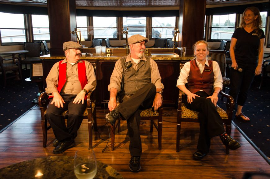The crew of the S.S. Legacy entertains guests with a version of The Liar's Club. Hint: the liar is the one you'd least suspect! Photo © 2015 Aaron Saunders