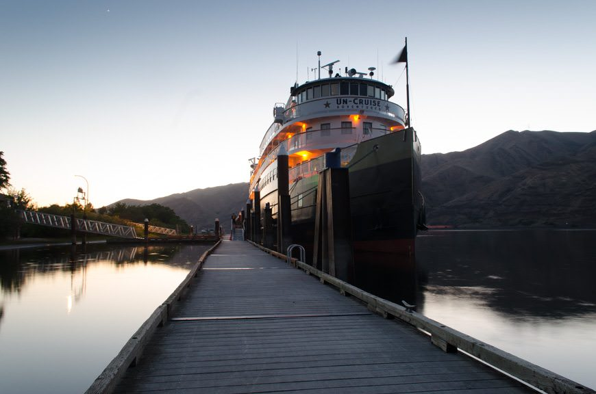 Un-Cruise Adventures' S.S. Legacy at her berth in Clarkston, Washington this evening. Photo © 2015 Aaron Saunders