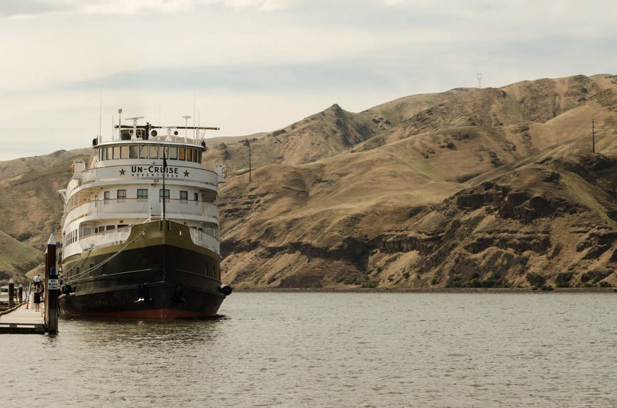 Un-Cruise Adventures' S.S. Legacy docked in Clarkston, Washington on our voyage through the Columbia and Snake Rivers in the states of Washington and Oregon. Photo © 2015 Aaron Saunders