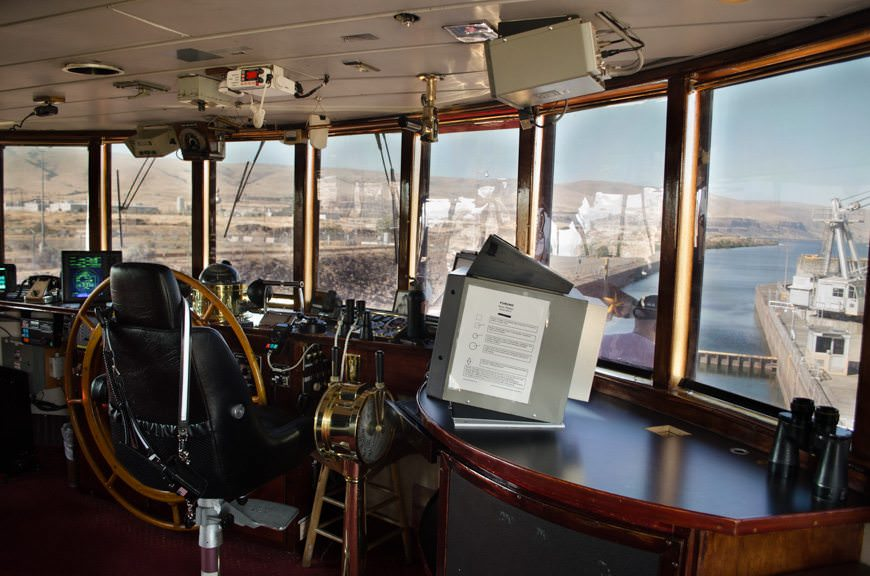 Check on the navigational action up on S.S. Legacy's wheelhouse - which is normally open to guests. Photo © 2015 Aaron Saunders