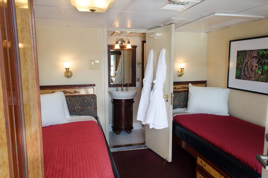 My digs aboard the S.S. Legacy: Commander Stateroom 207. Don't let the fixed double-beds put you off: the mattresses are wonderfully comfortable! Photo © 2015 Aaron Saunders