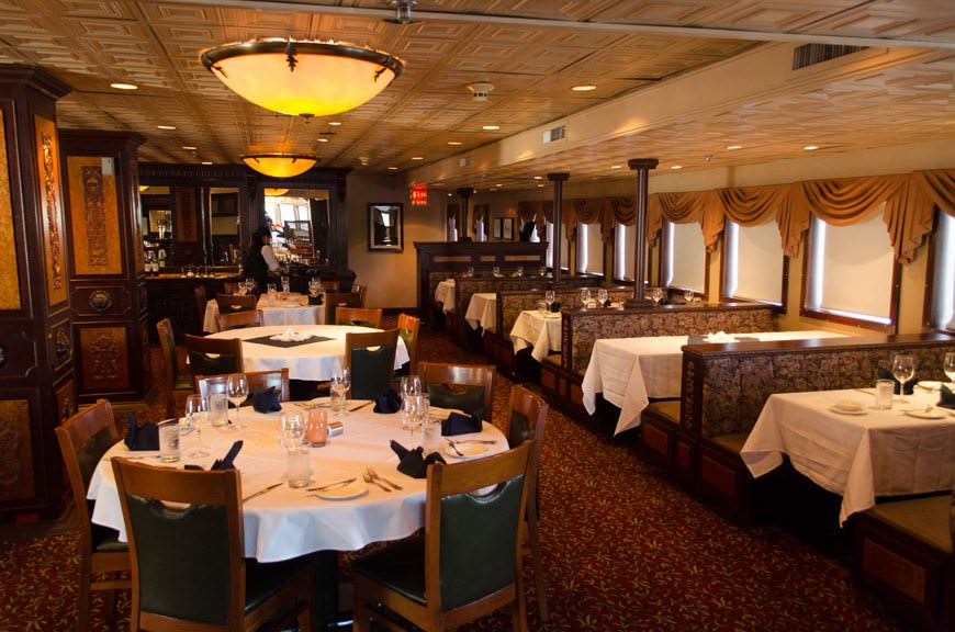 S.S. Legacy's main dining room, Deck 1, facing forward. Photo © 2015 Aaron Saunders