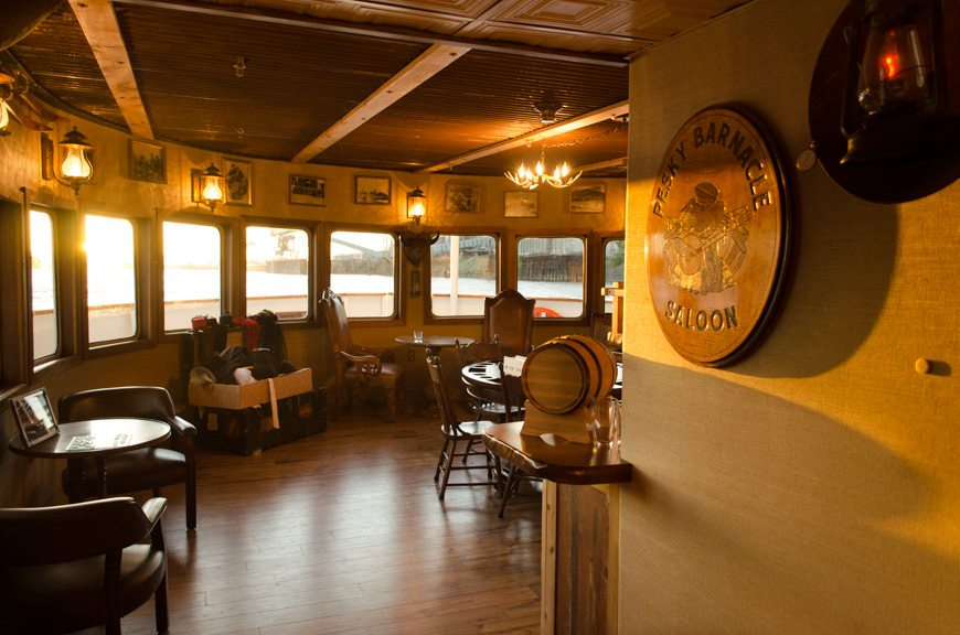 Amble up to the bar at the Pesky Barnacle Saloon, located aft of the main restaurant on Deck 1. Features? Self-pour scotch, bourbon and IPA's! Photo © 2015 Aaron Saunders