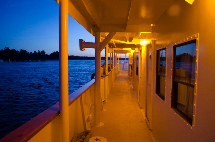 Strolling S.S. Legacy's decks at night is a real treat. Just like stepping back in time... Photo © 2015 Aaron Saunders
