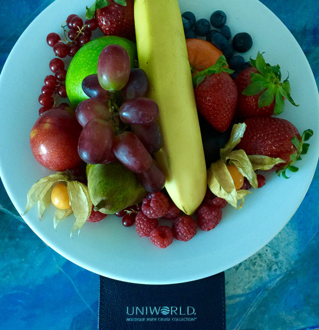 Fresh fruit in my room on Uniworld. © 2015 Ralph Grizzle