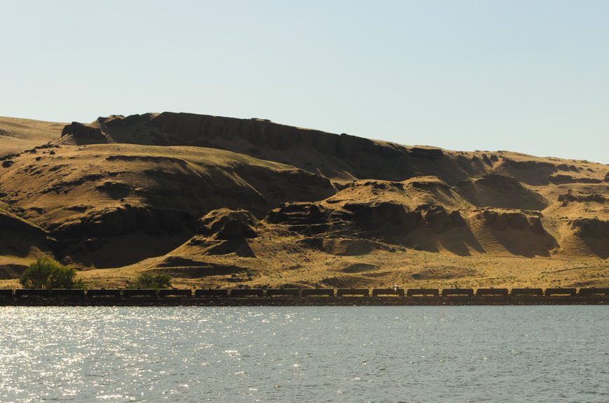 ...and past the remarkable and ever-changing scenery of the Columbia River. Photo © 2015 Aaron Saunders