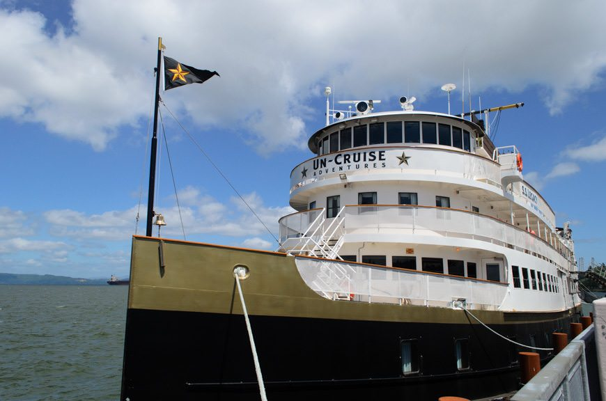 Un-Cruise Adventures' classy S.S. Legacy at her berth in Astoria on Friday, June 12, 2015. Photo © 2015 Aaron Saunders