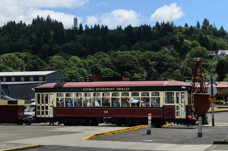 For $1, you can ride the Astoria Trolley the length of the waterfront. Photo © 2015 Aaron Saunders