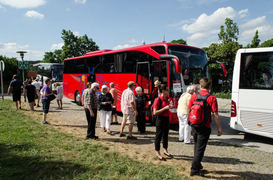 Guests disembark our coaches at a rest-stop about 90 minutes south of Nuremberg. We had 30 minutes to grab a coffee, snack, or use the toilets. Perfect! Photo © 2015 Aaron Saunders