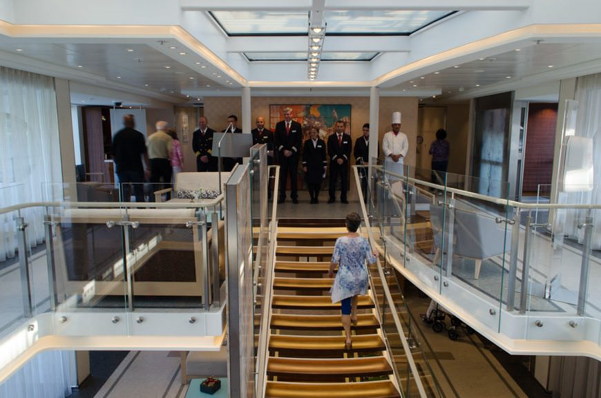 Viking Lofn's crew wait to greet us for our first cocktail reception aboard the ship. Photo © 2015 Aaron Saunders