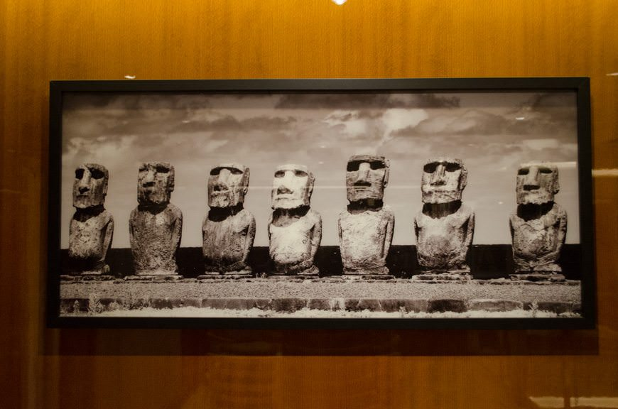 One of the major differences between the two vessels is their artwork, like this Moia Heads photograph of Easter Island that adorns the area above the two computer workstations. Photo © 2015 Aaron Saunders