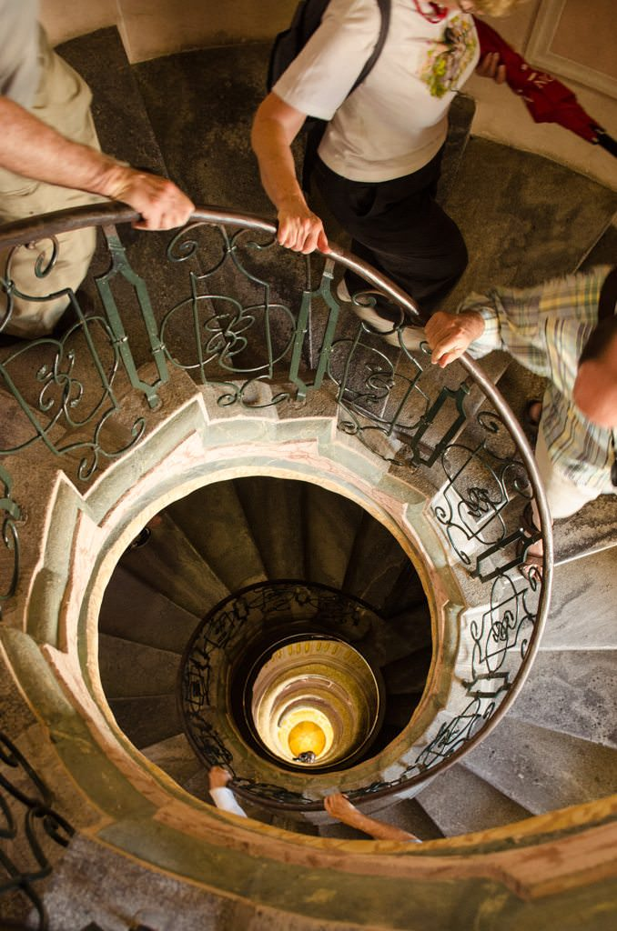 Guests ascend this spiral staircase...Photo © 2015 Aaron Saunders