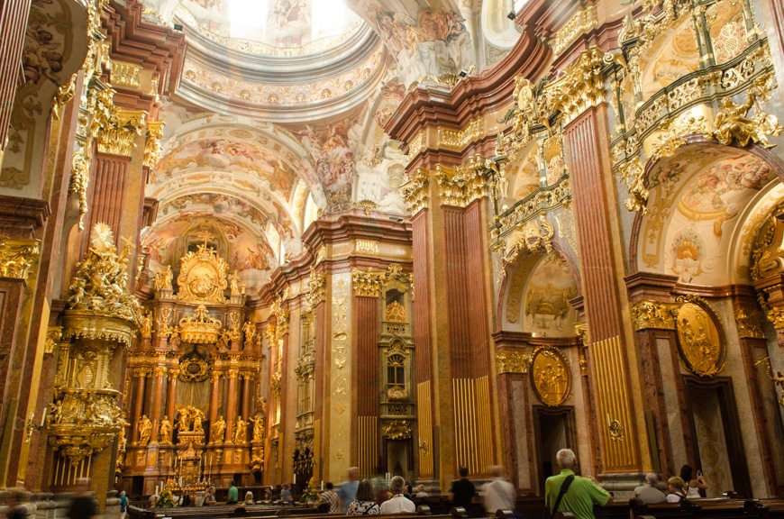 The tour of Melk Abbey concludes in the Abbey Cathedral. Photo © 2015 Aaron Saunders