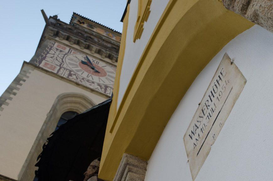 """Most buildings in Passau have a """"waterline"""" mark, showing the height of past floods. Photo © 2015 Aaron Saunders"""