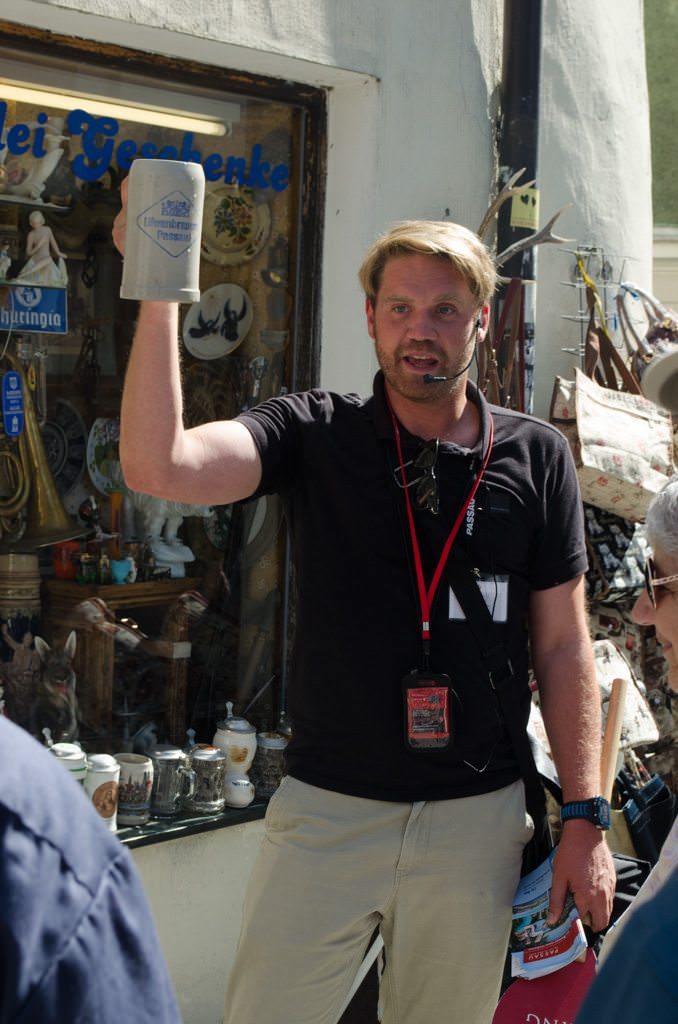 Now THIS is a Beer! Our guide demonstrates the proper size of a Bavarian beer. Photo © 2015 Aaron Saunders
