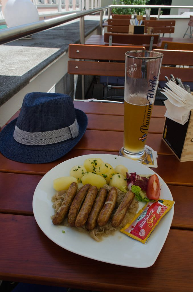 Of course, there's always time for Bratwurst. This is at the Gasthof 3 Linden on Hollgasse. Photo © 2015 Aaron Saunders
