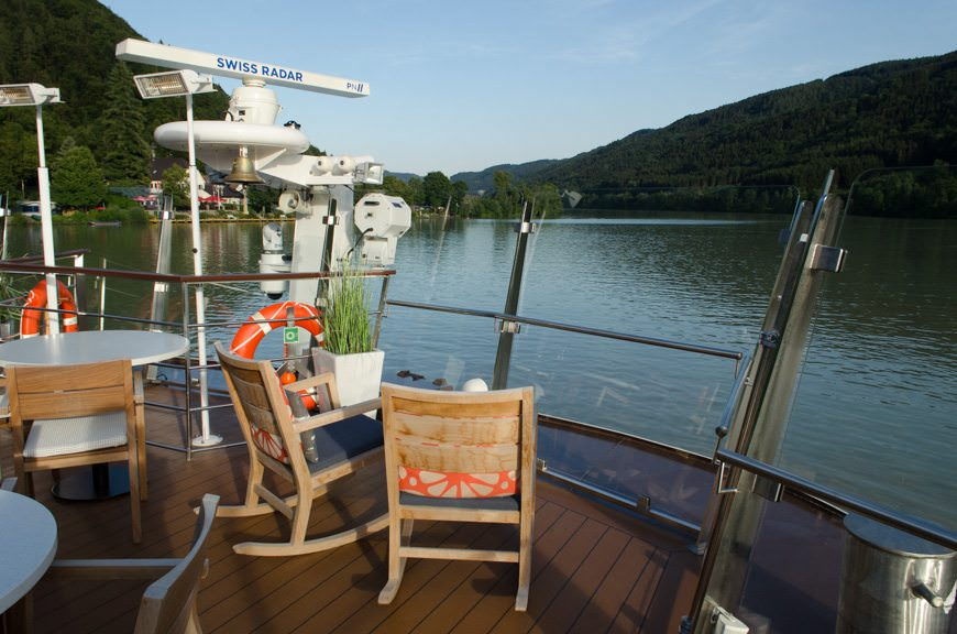 This evening, guests were treated to a beautiful sailaway from Passau. Photo © 2015 Aaron Saunders