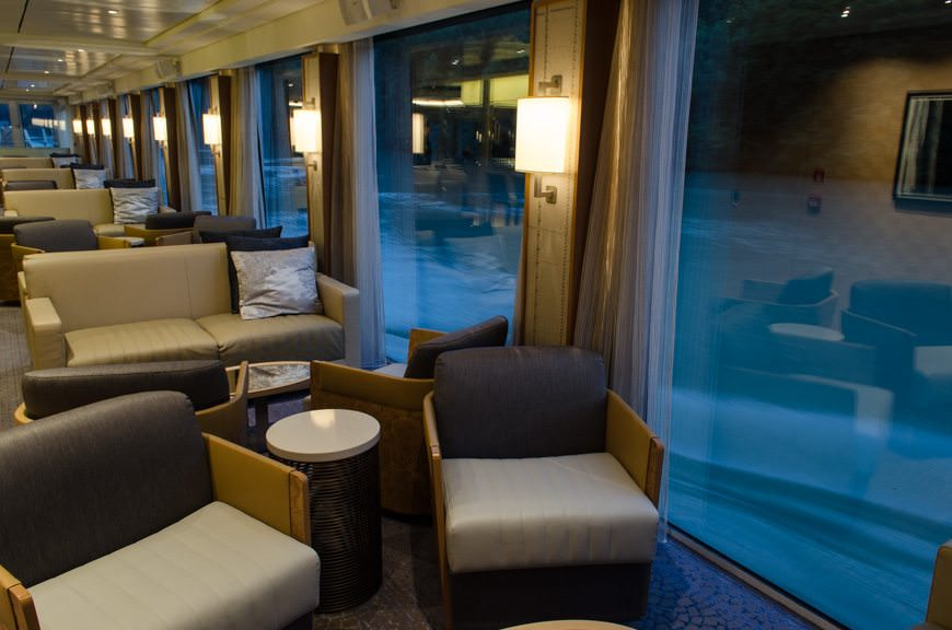 Even inside, there's no shortage of places to sit in the Viking Lounge and watch the world - or part of it - go by. Photo © 2015 Aaron Saunders