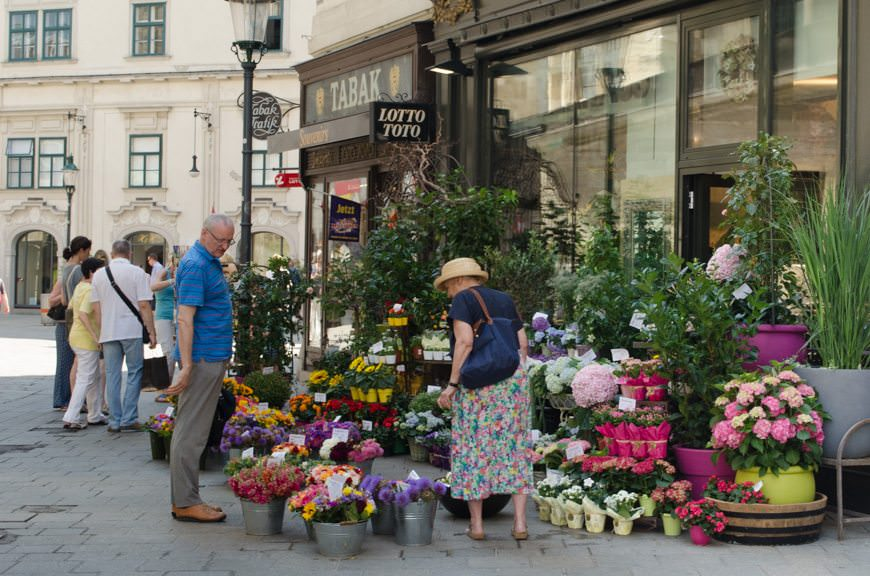 Shopping for fresh flowers. There's nothing you can't find in Vienna. Photo © 2015 Aaron Saunders