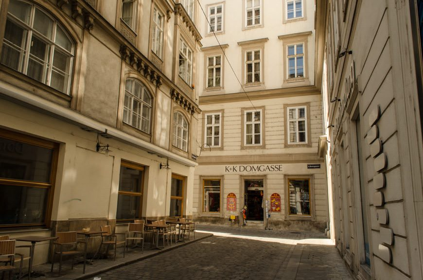 Vienna's narrow, winding streets hold many charms and secrets. Photo © 2015 Aaron Saunders