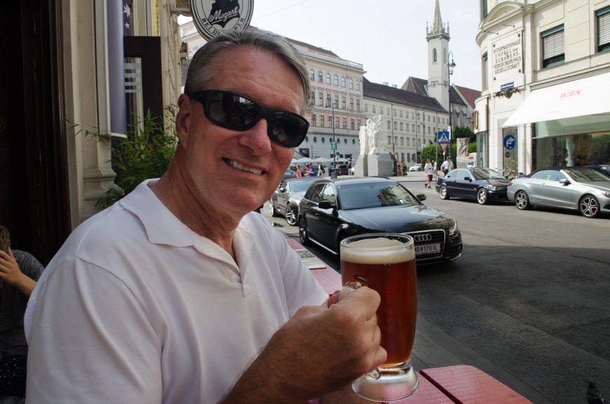 Avid Cruiser Ralph Grizzle in Vienna, with beer. Photo © 2015 Aaron Saunders