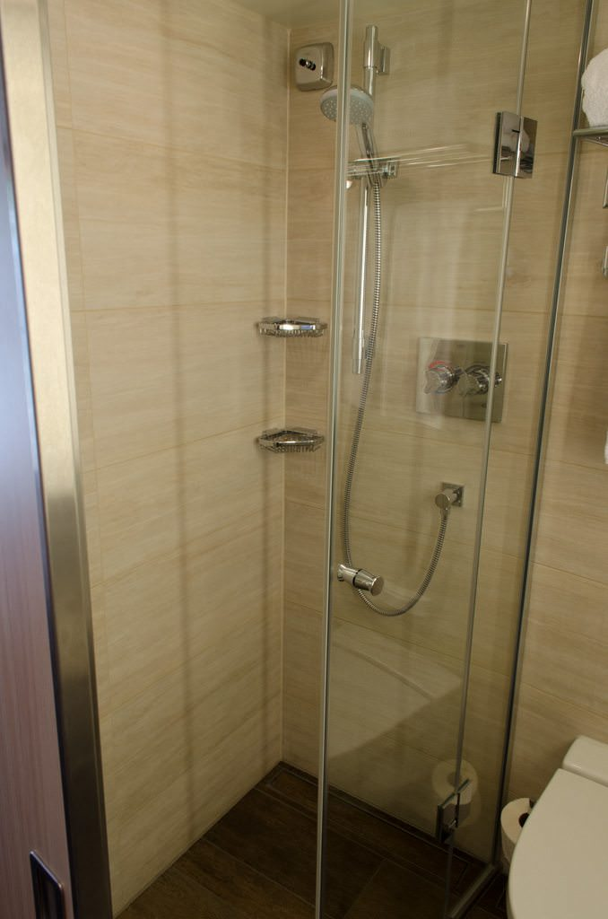 The shower features a two-partition glass door system and an adjustable, removable, showerhead. Photo © 2015 Aaron Saunders