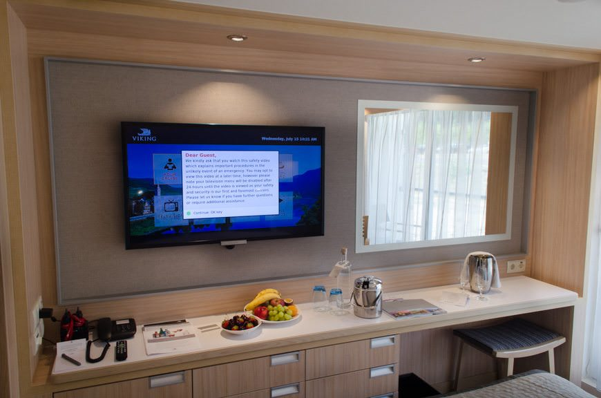 Category A staterooms, like Category B rooms, contain a decent vanity and work area, plenty of power outlets, and a video-on-demand system that is just unrivaled in the industry. Photo © 2015 Aaron Saunders