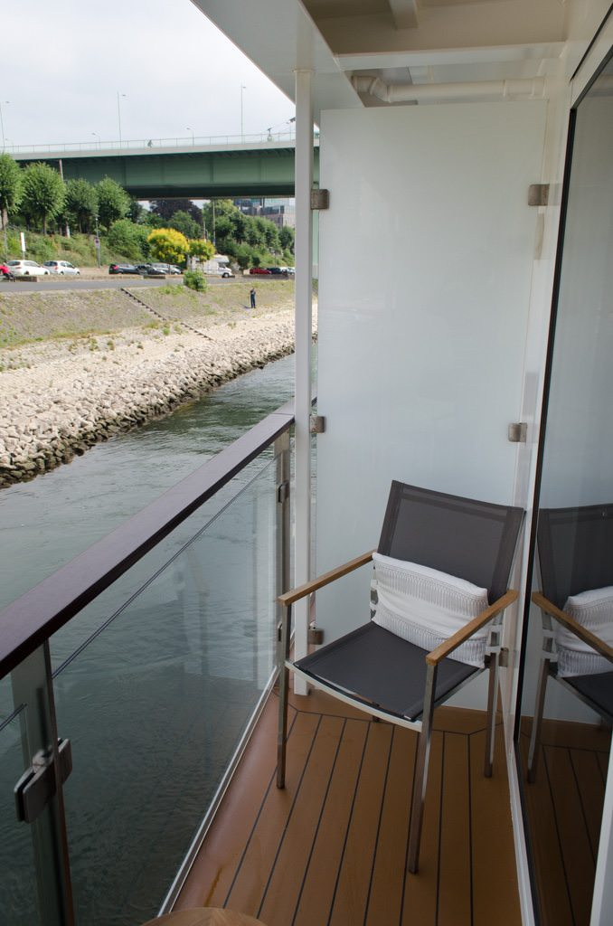 My Category A balcony is small but generous for a river cruise ship. You can sit and read a book here quite comfortably. Photo © 2015 Aaron Saunders