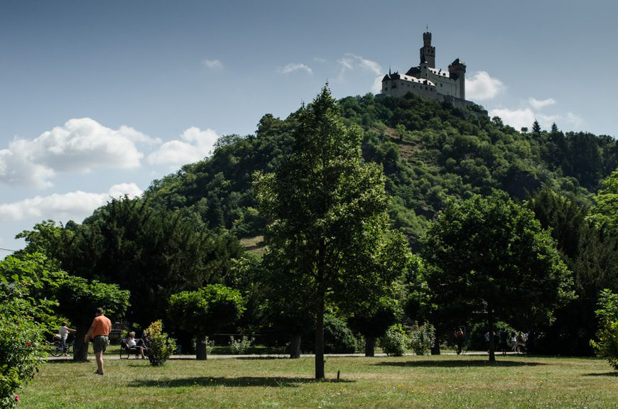 Marksburg Castle, as seen from a different vantage point later on in the day. The castle was one of the few that was never sacked or bombed. Photo © 2015 Aaron Saunders