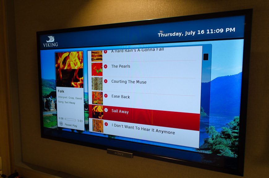 Viking's excellent interactive television system provides some background music...Photo © 2015 Aaron Saunders