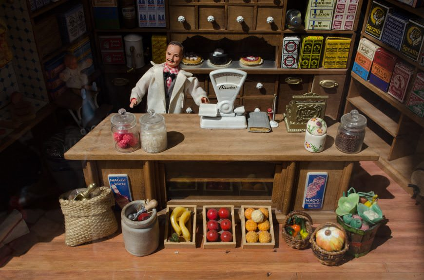 Shop displays in Germany are surprisingly intricate - like this miniature model in an antiques store. Photo © 2015 Aaron Saunders