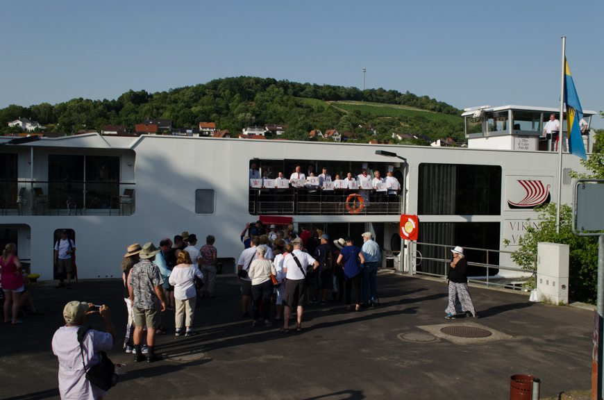 Welcome Home! The crew of the Viking Vidar greets guests this afternoon in Wertheim. Photo © 2015 Aaron Saunders