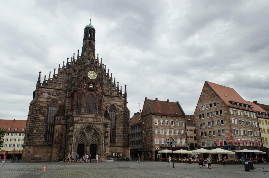 Nuremberg's amazing Marktplatz is anchored by the imposing Frauenkirche - which was, like the town, meticulously built after WWII. Photo © 2015 Aaron Saunders