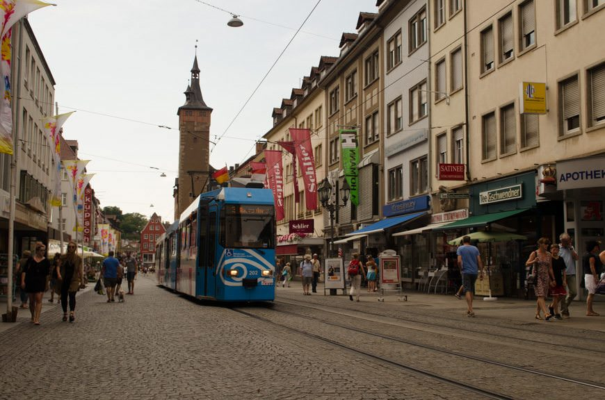 Wurzburg's Domstrasse, one of the main roads in the historic center of town. Photo © 2015 Aaron Saunders