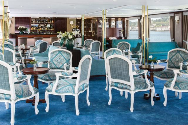 Main lounge on Queen Isabel. Photo courtesy of Uniworld.