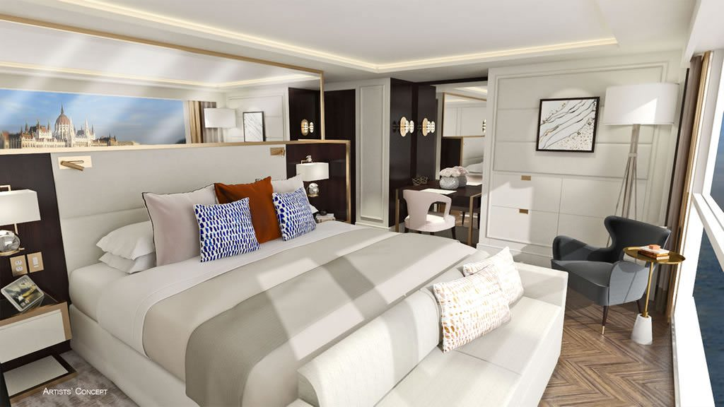 Rendering of a Category S2 Suite aboard Crystal Debussy. Illustration courtesy of Crystal Cruises.