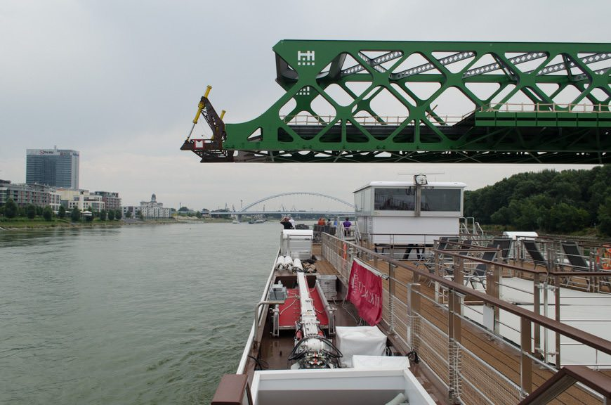 Departure from Bratislava under a half-finished bridge. Photo © 2015 Aaron Saunders
