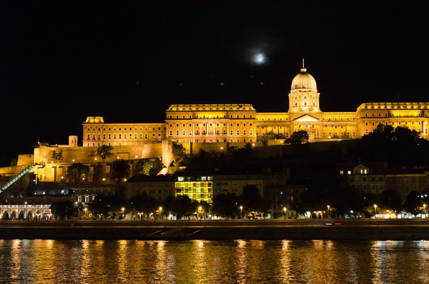 Admiring Buda Castle from the decks of Viking Lofn tonight. Photo © 2015 Aaron Saunders
