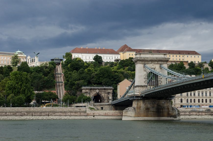 The Chain Bridge at right and the Buda HIll Funicular in the distance. Photo ©  2015 Aaron Saunders