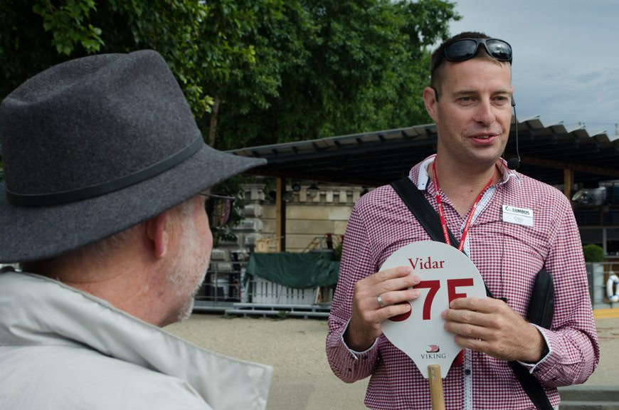 Our local guide met us pierside for our walking tour of Budapest that would use only our feet and Public Transit. Best of all, it was offered complimentary by Viking. Photo ©  2015 Aaron Saunders