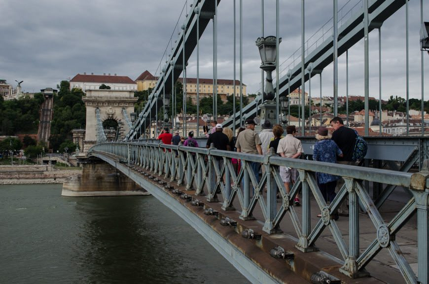 Guests from Viking Lofn walk across the Chain Bridge in Budapest, Hungary. Photo © 2015 Aaron Saunders