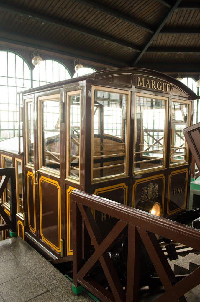 One of the Funicular cars that whisks guests over 300 feet to the top. The Funicular was reopened in 1986. Photo ©  2015 Aaron Saunders