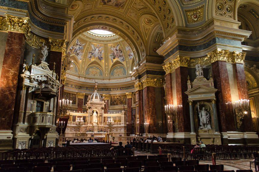 Inside the beautiful St. Stephen's Basilica. Photo © 2015 Aaron Saunders