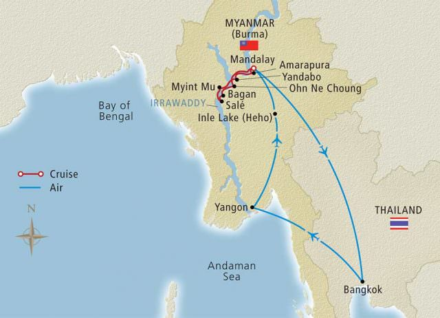 Viking's Myanmar Explorer river cruise tour takes us deep into the heart of Myanmar, formerly known as Burma. Illustration courtesy of Viking River Cruises