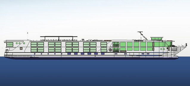 An artist's profile of the new Scenic Azure. Courtesy of West Sea Viana do Castello Shipyard.