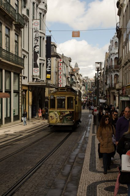 Porto, Portugal and its quaint trolley cars. Photo © 2014 Aaron Saunders