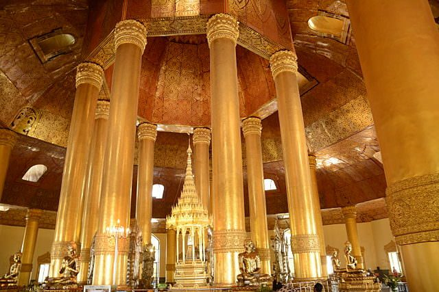 The inside of one of Yangon's many temples. Photo courtesy of Wikipedia / Creative Commons