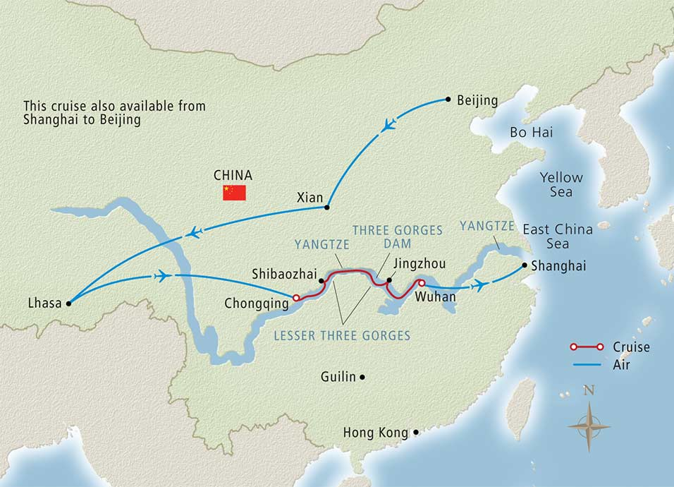 """Viking offers a multitude of itineraries in China, including this """"Roof of the World"""" cruisetour that explores Tibet. Illustration courtesy of Viking River Cruises."""