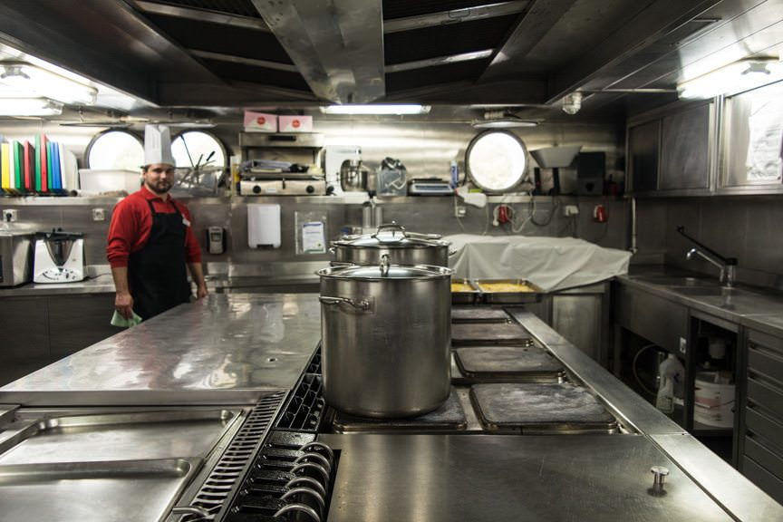 The galley is small, but functional. Photo © 2015 Aaron Saunders
